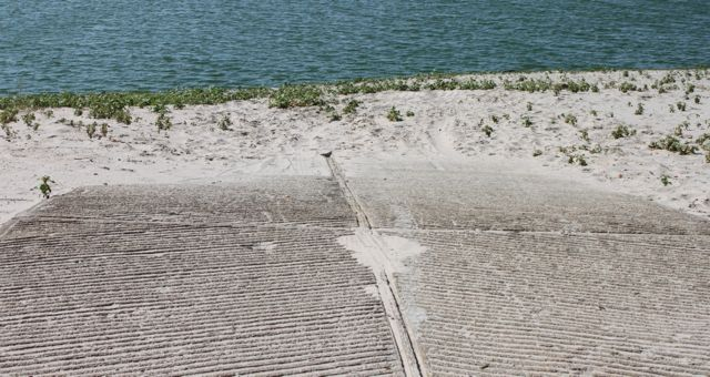 Ramp covered in sand at Merritt Reservoir